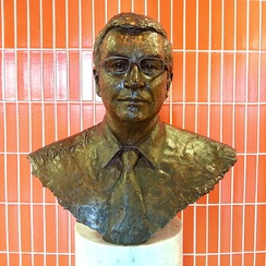 Ashcroft's bust In the lobby of the Lord Ashcroft Building at the business school of Anglia Ruskin University in Cambridge, from where he earned Higher National Diploma in business studies.