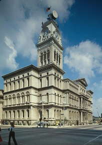 Louisville City Hall in downtown, built 1870–1873, is a blend of Italianate styles characteristic of Neo-Renaissance