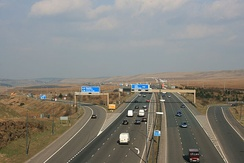 M62 J22, the highest point on the motorway as seen from the Pennine Way
