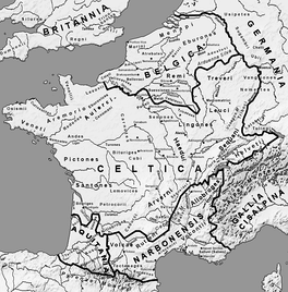 Map of Gaul before complete Roman conquest (circa 58 BCE) and its five main regions : Celtica, Belgica, Cisalpina, Narbonensis and Aquitania.