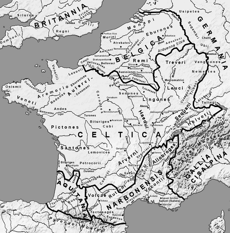 Map 7: Gaul (58 BC) with important tribes, towns, rivers, etc. and early Roman provinces.