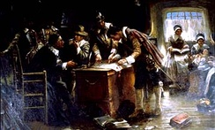 """Signing of the Mayflower Compact"" (c. 1900) by Edward Percy Moran"