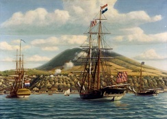 First official salute to the U.S. flag on board the U.S. warship Andrew Doria  in a foreign port, at St. Eustatius in the West Indies, on November 16, 1776