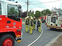 New South Wales Fire Brigade station officer (red helmet) and firefighters (yellow helmets), Australia