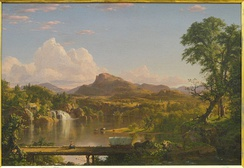 "New England Scenery (1851) was Church's ""first true composite landscape""—it used sketches from various locations to develop a more detailed and spatially complex landscape than found in Cole's work.[5]"