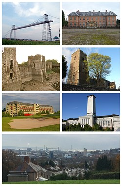 A montage of seven images of the sights of Newport. Clockwise from the top left: the Transporter Bridge in clear skies, the grounds and building at Tredegar House with the gates in the foreground, the remains of Newport Castle on the side facing the River Usk, St Woolos Cathedral and a tree in the foreground, The Celtic Manor resort building with the sand bunker of the golf course in the foreground, the Clock Tower of Newport City Council's Civic Centre, and a wide shot at the bottom of the skyline of Newport from a hill, with the Usk in the far distance.