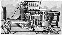 Sectional view showing parts and details, circa 1900