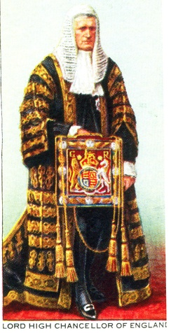 The uniform of the Lord High Chancellor, depicted on a cigarette card produced for the Coronation of King George VI and Queen Elizabeth in 1937