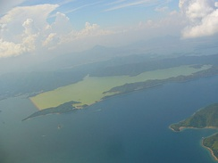 Aerial view of Plover Cove coastal reservoir.