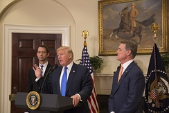 Tom Cotton (left) with President Donald Trump and Senator David Perdue (right)