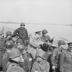 Churchill's crossing of the Rhine river in Germany, during Operation Plunder on 25 March 1945.