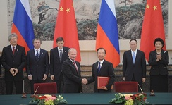 On 24 November 2010, Vladimir Putin announces that Russia's bilateral trade with China will be settled in ruble and yuan, instead of U.S. dollars.[58]