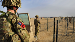 Royal Air Force Police guarding the Main Entry Point at Camp Bastion in Helmand Province, Afghanistan (2013)