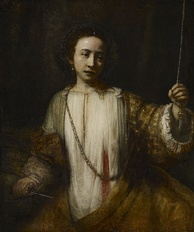 painting of a woman who has given herself a mortal wound, bleeding from her left abdomen