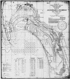1923 military map of San Diego Bay, depicting anchorages and moorings, various military facilities, Coronado, National City, and the surrounding area.