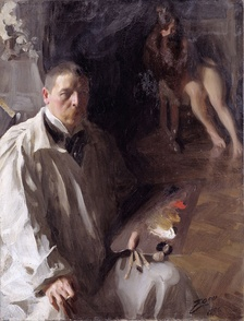 A self-portrait by Anders Zorn clearly showing a four pigment palette of what are thought to be white, yellow ochre, red vermilion and black pigments.[17]
