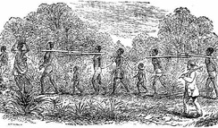 The image is a slave coffle where men, women and children were bound together and in the process of transport to a place where they will be sold. It is this type of method that was used when he saw his wife being taken away from him.