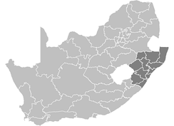 A map of South Africa showing the districts of KwaZulu-Natal province