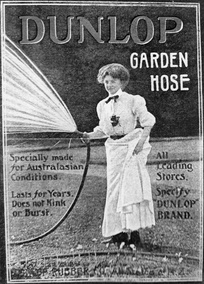 A 1914 Dunlop print advertisement for garden hoses