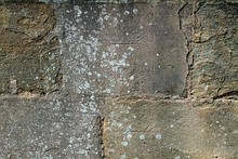 Three different stonemason's marks, which can be seen in the Chapter House of Fountains Abbey