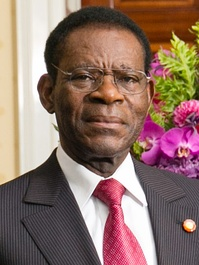 "Equatorial Guinea's President Teodoro Obiang Nguema Mbasogo. According to the BBC, Obiang Nguema ""has been described by rights organisations as one [of] Africa's most brutal dictators.""[21]"