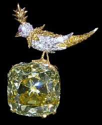 The Tiffany Yellow Diamond, a 128-carat stone cut in a modified cushion-shape featuring 90 facets instead of the 57 or 58 of a standard brilliant cut.[citation needed] The stone, discovered in 1878, has never been sold.[citation needed]