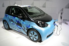 The Toyota eQ/Scion iQ EV is based on Toyota's three generations of FT-EV concept. Shown the Toyota FT-EV III concept car at the 2011 Tokyo Motor Show.