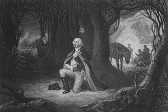 "This 1866 engraving depicts Washington praying at Valley Forge. In 1918, the Valley Forge Park Commission declined to erect a monument to the prayer because they could find no evidence that the event had occurred. In 1945, an article was published by the Valley Forge Historical Society in which the writer presents the accounts of the purported incident and, while acknowledging the second hand records of the tradition ""lack ... the authentication with which the historian seeks to monument his recordings in all the solemnity of established fact,"" rhetorically asks if it is unreasonable to believe the event might have occurred.[1][2]"