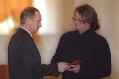 President Vladimir Putin presenting Gradsky with the People's Artist of Russia title, 2000