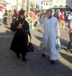 A Russian orthodox nun and monk in the Old City of Jerusalem, 2012