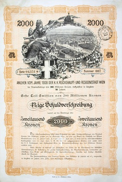 Bond of the city of Vienna, issued 23. June 1908