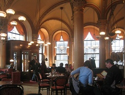 Café Central in Vienna, Austria. A staple of the Viennese coffee house tradition, it has remained open since 1876.