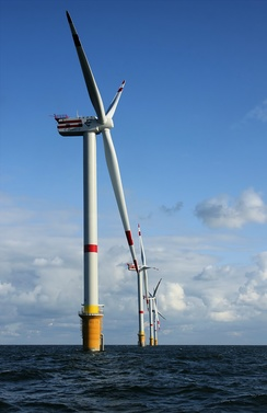 Thorntonbank Wind Farm, using 5 MW turbines REpower 5M in the North Sea off the coast of Belgium.