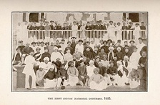 Image of the delegates to the first meeting of the Indian National Congress in Bombay, 1885.