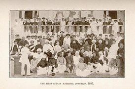 The first session of the Indian National Congress in 1885. The Congress was the first modern nationalist movement to emerge in the British Empire in Asia and Africa.[41]