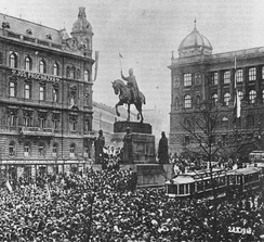 Rally in Prague on Wenceslas Square for the Czechoslovak declaration of independence from the Habsburg Austro-Hungarian Empire, 28 October 1918