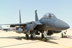 A 494th EFS F-15E Strike Eagle sits on the flight line prior to a sortie at Prince Sultan Air Base, Saudi Arabia, 8 January 2020