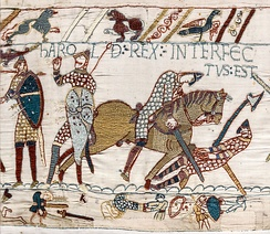 A Norman knight slaying Harold Godwinson (Bayeux tapestry, c. 1070). The rank of knight developed in the 12th century from the mounted warriors of the 10th and 11th centuries.
