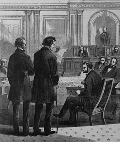 Stevens (right) and John A. Bingham formally notify the Senate of Johnson's impeachment.  From Harper's Weekly.
