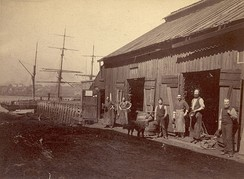 A blacksmith shop in the harbor of Saint John, New Brunswick, Canada in the late 19th century