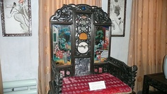 Throne given to Zanabazar by his disciple the Kangxi Emperor, used by later Jebtsundamba Khutuktus in Urga