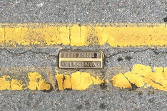 Double yellow line on State Street, separating Virginia from Tennessee with a bronze marker embedded in pavement.
