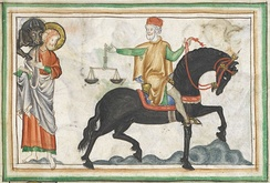 A 13th-century depiction of a riding horse. Note resemblance to the modern Paso Fino.