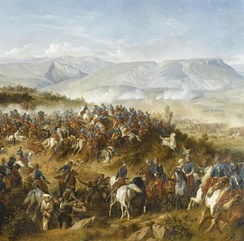 The Chasseurs d'Afrique, led by General d'Allonville, clearing Russian artillery from the Fedyukhin Heights during the Battle of Balaclava