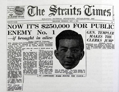 Headline on page 1 of The Straits Times of 1952. Chin Peng: Public Enemy No.1
