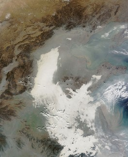 7 December 2013 image from NASA's Terra Satellite of the Eastern China smog