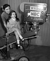 Station camera in 1951. Singer-actress Connie Russell from Garroway at Large and her daughter are pictured.
