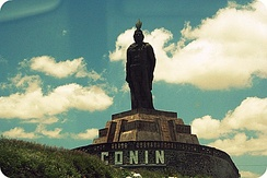 Statue of Otomi king, Conín de Xilotepeque, (also known as Fernando de Tapia), founder of the city.