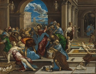 Christ Driving the Money Changers from the Temple, Washington version, by El Greco