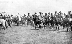 Emir of Kano, with cavalry, photographed in 1911
